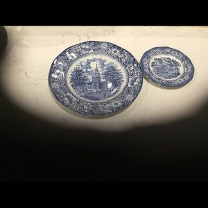 2 Blue Liberty Plates from England